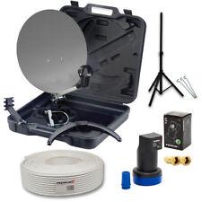 Camping Koffer Sat Anlage Antenne Schüssel mini Spiegel LED LNB 10m Kabel Stativ