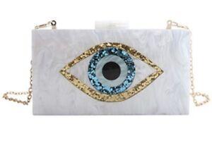 "Evening Bags 2021 Acrylic Eye Lady's White Crossbody HandBag or Clutch 48"" Chain"