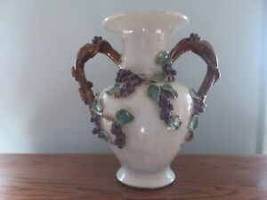 Majolica large vase with grapes & leaves, grapevine handles