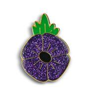 Animals In War Purple Glitter Enamel Lapel Pin Badge Brooch Cat Dog Poppy UK
