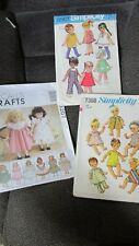 """3 - Doll Clothes Patterns - 18"""" Doll"""