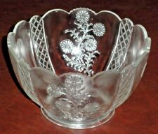 """Beautiful 7 x 4.5"""" DECORATIVE BOWL Clear Glass Embossed Frosted Floral Bloom"""