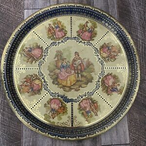 """Vintage Young Lovers Victorian Gold Blue Metal Tray 12"""""""