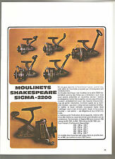 Shakespeare Sigma-2200 Publicité Années 70'-80's Advertising Vintage AD