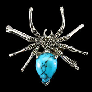 Pear Blue Turquoise 15x11mm Marcasite 925 Sterling Silver Spider Brooch