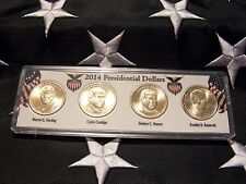 COMPLETE SET OF ALL  FOUR 2014-P PRESIDENTIAL  DOLLARS IN DISPLAY CASE