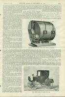 1897 Horseless Hack Carriage Engraving Print Paris Early Automobile Car History