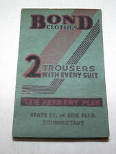VINTAGE 1936-1937 BOND CLOTHES 2 TROUSERS EVERY SUIT SCHENECTADY NY NOTE PAD