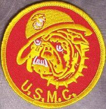 Embroidered Military Patch USMC Marine Bulldog Head NEW round