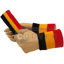 Couver Black Yellow Red Striped Headband Wristband Set