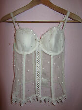 Cream White M&S See Through Basque in Size 32 D - NWOT - Detachable Suspenders