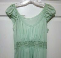 Buttery Soft Vintage Shadowline MINT GREEN Nylon & Lace Sheer Nightgown Small