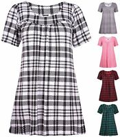 Womens Plus Size Check Printed Ladies Short Sleeve Gathered Long Smock Top Dress