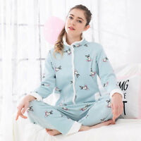 Nursing Breastfeeding Sleepwear Homewear Maternity Pajama Set Fleece Warm M/L/XL