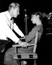 "AUDREY HEPBURN WILLIAM HOLDEN ON SET OF ""SABRINA""  8X10 PUBLICITY PHOTO (AB-710)"