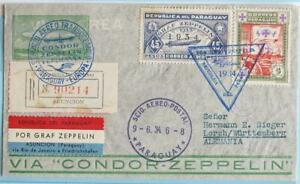 PARAGUAY > BRAZIL to GERMANY 1934 ZEPPELIN, Airship 2nd SAF Flight Airmail Cover