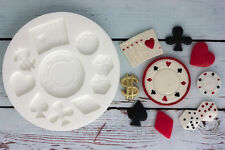Moule silicone, casino, poker chip, carte costumes, Las Vegas, ellam Sugarcraft M137