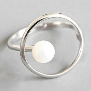 Geometric Designer Pearl Rings for Women Solid 925 Sterling Silver Fine Jewelry