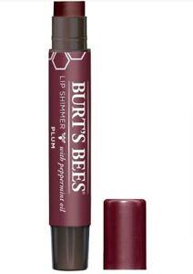Burt's Bees 100% Natural Moisturizing Lip Shimmer, Plum with Peppermint oil