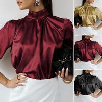 UK Ladies Vintage OL Work Shirt High Collar Leopard Satin Tops Women Blouse 8-26