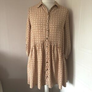 F&F Orange Peach Long Smock Top Blouse Size 10 Chain Link Print Oversized Button