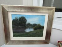 Vintage Oil Painting On Board In Metallic Gold Frame Unsigned Landscape...