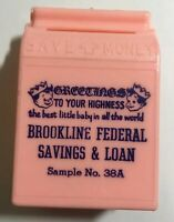 Vintage Pink Plastic Baby Piggy Bank Brookline Federal Savings & Loan BEACON