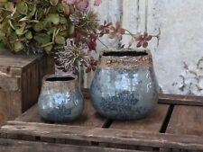 Chic Antique Vase mit Spitzenkante H13xø14cm cremefarben Blumenvase Topf