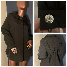 💖 BETSEY JOHNSON 💖 BLACK QUILTED COLLAR LONG SLEEVE A-LINE COAT JACKET L 💖