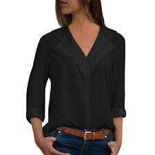UK Womens Long Sleeve Chiffon Shirt Office Work Shirt Plain V-Neck Blouse Tops