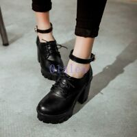 Women's Chunky High Heel Mary Jane Ankle Strap Platform Buckle Strap Pump Shoes