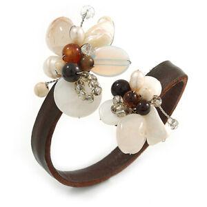 Semiprecious Stone Floral Silver Tone Wire Brown Leather Flex Bracelet (Brown,