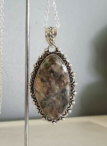 Sterling Silver Overlaid Russian Charoite Pendant with Chain