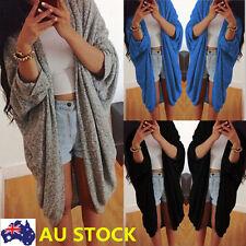 Women Open Front Knitwear Batwing Top Cape Loose Cardigan Jacket Long Coat Top