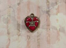 Vintage Sterling silver enameled puffy heart charm-Red pansy