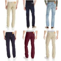 NEW MENS LEVIS 513 SLIM STRAIGHT FIT ZIPPER FLY JEANS PANTS BURGUNDY BLUE BEIGE