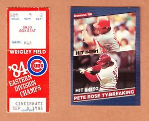 PETE ROSE CUBS vs. REDS Sept 8, 1985 Game Ticket Stub Tying TY COBB Hit #4191
