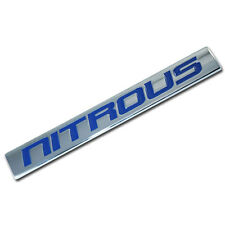 CHROME/BLUE METAL NITROUS NOS ENGINE RACE MOTOR SWAP BADGE FOR TRUNK HOOD DOOR