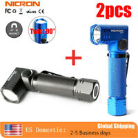 Nicron 2pcs 600Lumen Twist 90° Magnetic LED Tactical Flashlight Inspection Torch