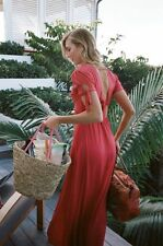 NWT EXPRESS womens CHERRY karlie kloss midi maxi button dress red L tie sleeve