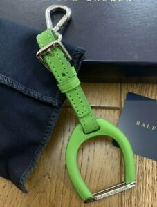 BN RALPH LAUREN GREEN LEATHER STAINLESS STEEL STIRRUP DESIGN KEYCHAIN CHARM