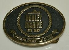 Nice HARLEY MARINE Minty Solid Brass Tug Boat OIL CO Nautical Belt Buckle RARE