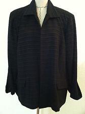 Plaza South 22W womens plus blazer jacket black solid stripe cuff sleeves