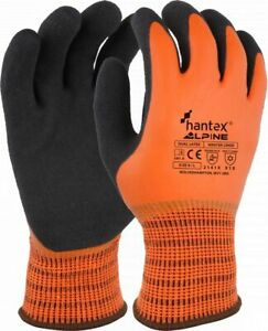 Hantex ALPINE ORANGE Dual Coated Foam Latex Thermal Super Grip Cold Work Gloves