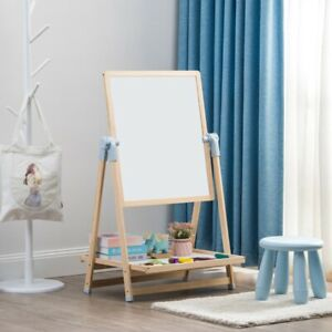 Kids Rotating 2 Sided Magnetic Drawing Board Easel w/ Dust-Free Chalk + Eraser