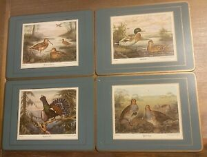 Set of 8 Vintage 1970's Pimpernel Wild Game Birds Cork Placemats Man Cave Ready!