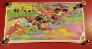 "LeROY NEIMAN 1976 OLYMPICS USA TRACK & FIELD  POSTER - BURGER KING PROMO 14""X23"""