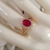 Vintage Jewellery Gold Ring with Ruby White Sapphires Antique Deco Jewelry N