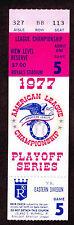 1977  ALCS GAME 5 TICKET STUB  KANSAS CITY ROYALS  vs NEW YORK YANKEES