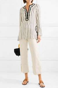 Tory Burch Striped Tunic Top M Women Casual Sleeved Embroidered Shirt NEW 18299